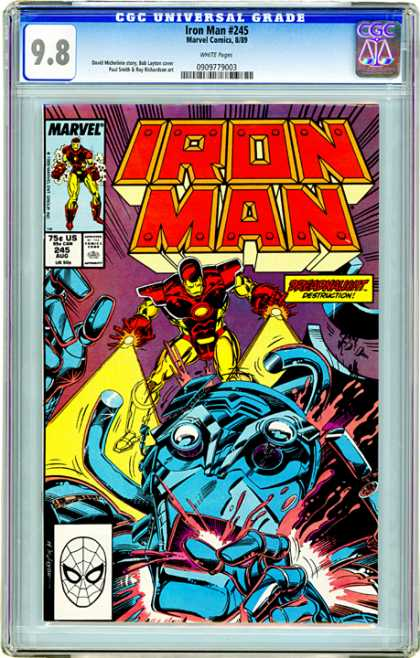 CGC Graded Comics - Iron Man #245 (CGC) - Iron Man - Destruction - Laser Beams - Metal Monster - Eye Popping