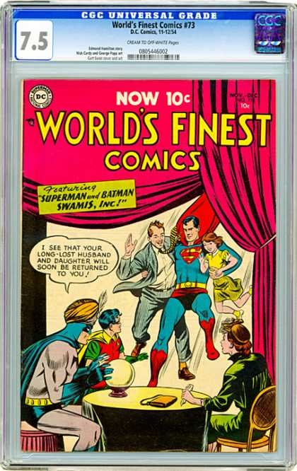 CGC Graded Comics - World's Finest Comics #73 (CGC) - Superman - Red Curtain - Batman - Swamis Inc - Turban