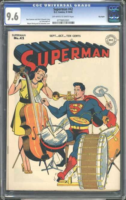 CGC Graded Comics - Superman #42 (CGC) - Superman - Drums - Trumpet - Superman Playing Instraments - Man Of Steel