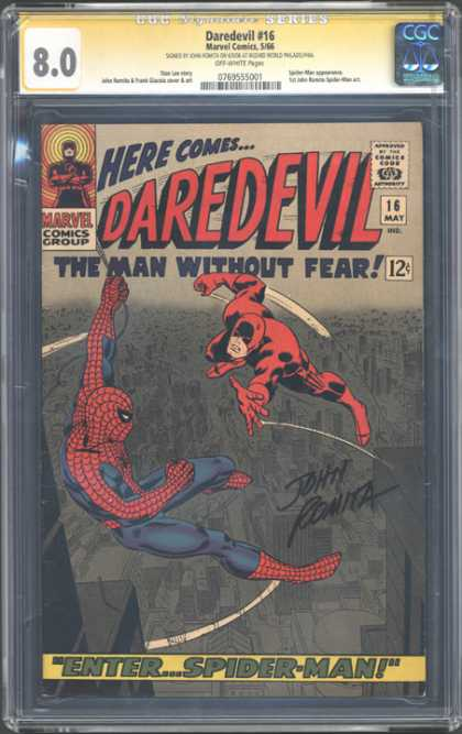 CGC Graded Comics - Daredevil #16 (CGC) - Daredevil - Approved By The Comics Code - The Man Without Fear - Spider-man - John Romita