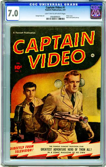 CGC Graded Comics - Captain Video #1 (CGC) - Blond Hair - White Circles - Guns - Missles - Red Bolts