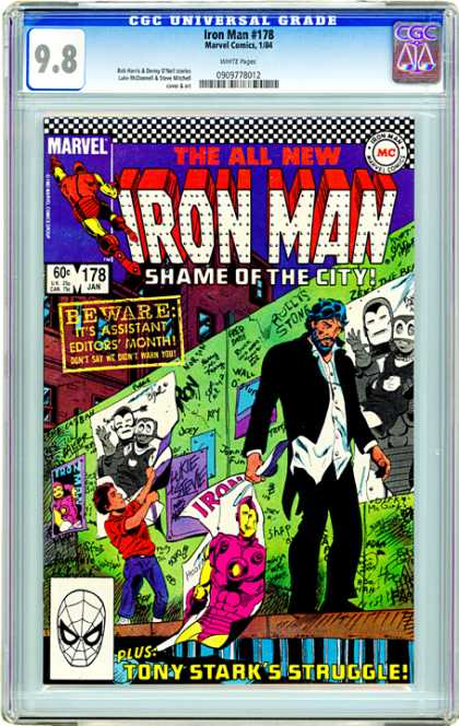 CGC Graded Comics - Iron Man #178 (CGC) - Iron Man - Tony Stark - Kid - Posters - Graffiti