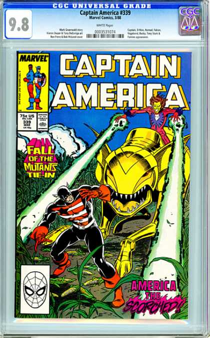 CGC Graded Comics - Captain America #339 (CGC) - No 339 - Marvel - Cornfield - Mutant Ant - Fall Of The Mutants Tie In
