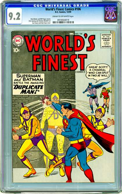CGC Graded Comics - World's Finest Comics #106 (CGC) - Dc - Superman - Batman - Robin - Duplicate Man