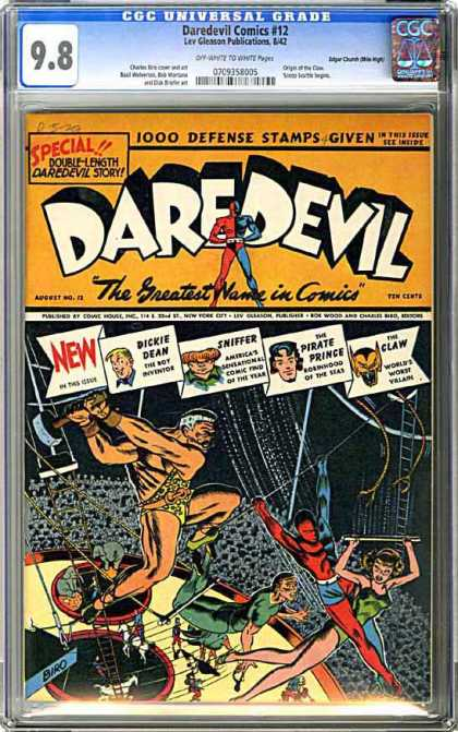 CGC Graded Comics - Daredevil Comics #12 (CGC) - Defense Stamps - Dickie Dean - Sniffer - Circus - Claw