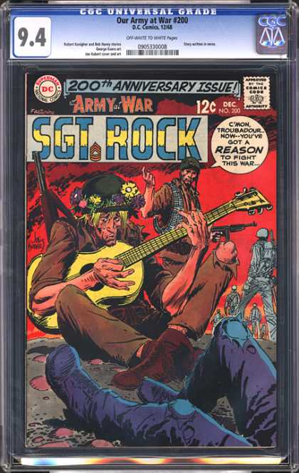 CGC Graded Comics - Our Army at War #200 (CGC) - Sgt Rock - Guitar - Gun - Soldier - Flowers