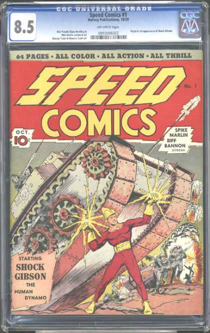CGC Graded Comics - Speed Comics #1 (CGC) - Shock Gibson - The Human Dynamo - Spike Marlin - Biff Bannon - War Zone