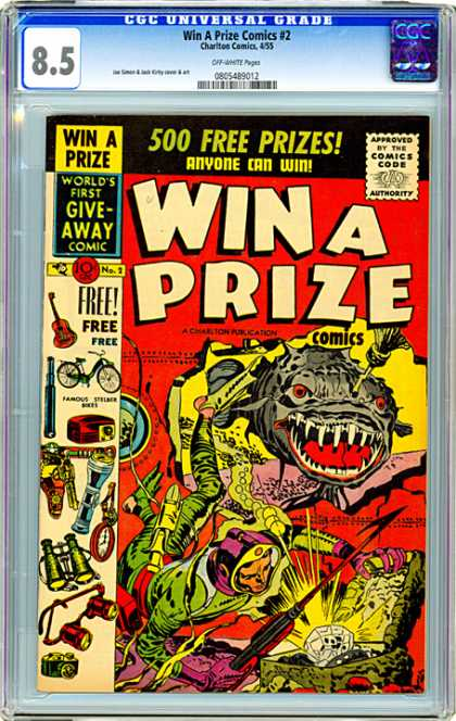 CGC Graded Comics - Win A Prize Comics #2 (CGC) - Treasure - Fish - Sharp Teeth - Scuba Diver - Seaweed