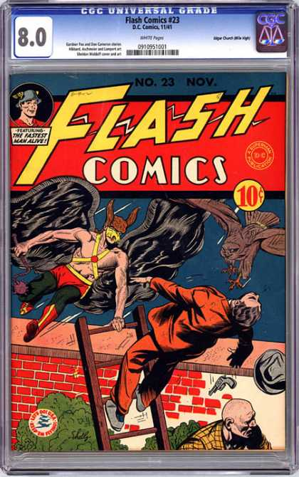 CGC Graded Comics - Flash Comics #23 (CGC) - Hawkman - Dc Comics - Ladder - Crooks - Gun