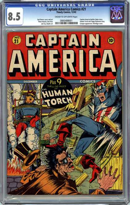 CGC Graded Comics - Captain America Comics #21 (CGC) - Captain America - Human Torch - Costumes - December Comics - Battle