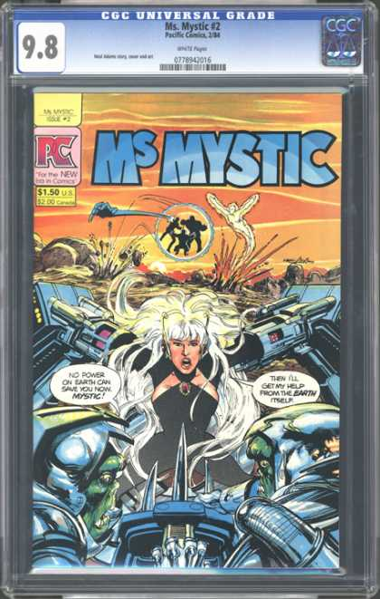 CGC Graded Comics - Ms. Mystic #2 (CGC) - Robot Arms - Armor - Monsters - Rocks - White Hair