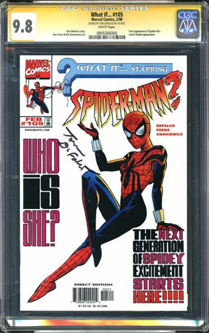 CGC Graded Comics - What If #105 (CGC) - Spider Girl - The Web She Weaves - Black Widow - What Big Eyes You Have - Shes Here