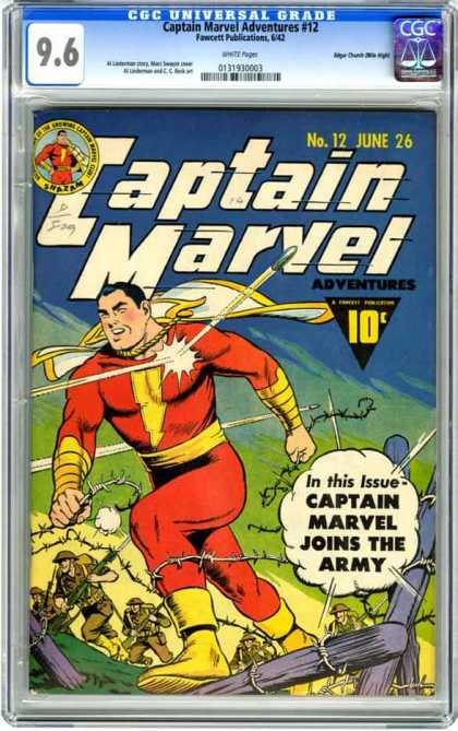 CGC Graded Comics - Captain Marvel Adventures #12 (CGC) - Captain Marvel Joins The Army - Bullet - Ricochet - Troops - Battle