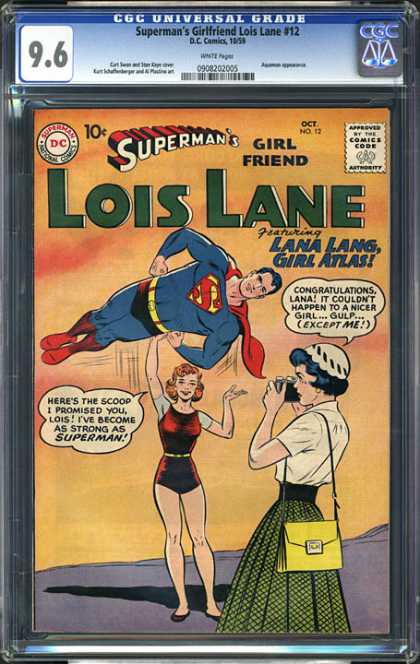 CGC Graded Comics - Superman's Girlfriend Lois Lane #12 (CGC) - Lana Lang - Red Cape - Flying - Camera - White Hat