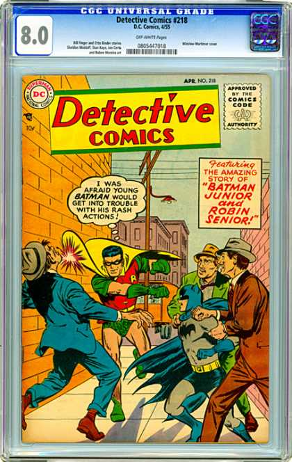 CGC Graded Comics - Detective Comics #218 (CGC) - Detective Comics - Batman Junior - Robin Senior - Fight - Alleyway