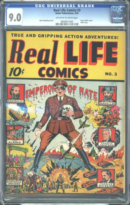 CGC Graded Comics - Real Life Comics #3 (CGC) - Emperor Of Hate - Skull - Airplanes - The Alamo - Battles