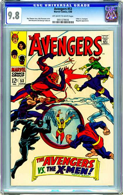 CGC Graded Comics - Avengers #53 (CGC) - The Avengers - The Avengers Vs The X-men - Flying Man In A Bubble - Red Haired Woman In A Yellow Mask - Man In A Black Outfit
