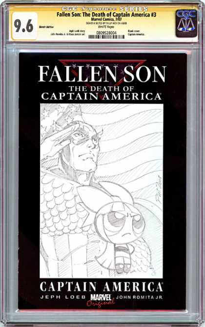 CGC Graded Comics - Fallen Son: The Death of Captain America #3 (CGC) - Fallen Son - The Death Of Captain America - Black And White - Salute - Powerpuff Girl