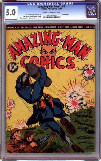 CGC Graded Comics - Amazing-Man Comics #8 (CGC) - Amazing Man Comics - The Shark - December - Cap - Minimidget