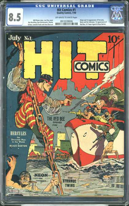 CGC Graded Comics - Hit Comics #1 (CGC) - Neon - The Red Bee - Water - Guns - Chain
