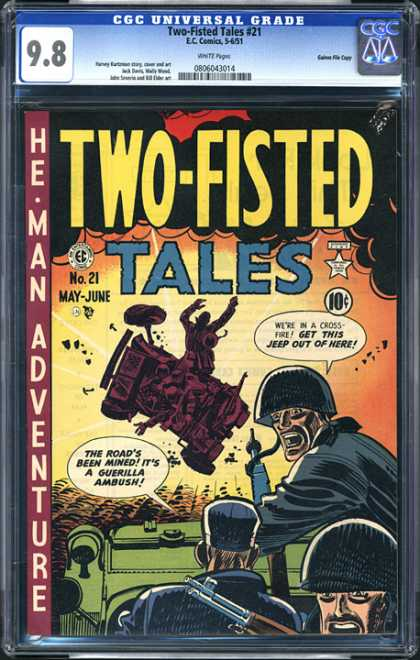 CGC Graded Comics - Two-Fisted Tales #21 (CGC) - Ambush - Army - Helmet - Jeep - Rifle