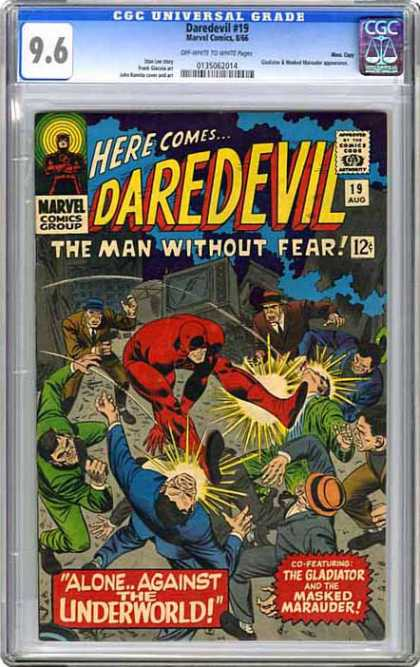 CGC Graded Comics - Daredevil #19 (CGC) - The Man Without Fear - Marvel - Alone Against The Underworld - The Gladiator - The Masked Marauder