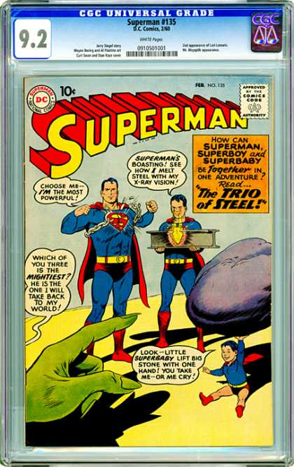 CGC Graded Comics - Superman #135 (CGC) - 92 - Diamond - Rock - Boy - Hand