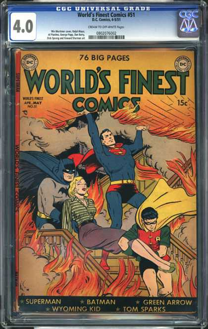 CGC Graded Comics - World's Finest Comics #51 (CGC) - Damsel In Distress - Dc Comics - Superheroes - Batman - Superman