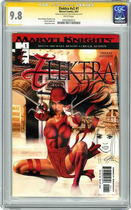 CGC Graded Comics - Elektra #v2 #1 (CGC) - Marvel Knight - Electra - Violent Content - Direct Edition - Woman