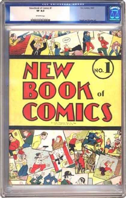 CGC Graded Comics - New Book of Comics #1 (CGC) - Cluttered Comic Panels - No 1 - Many Different Characters - Sword Fight - Man Running