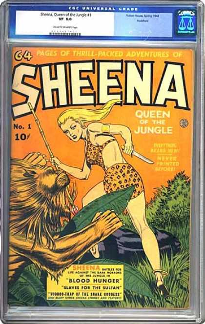 CGC Graded Comics - Sheena, Queen of the Jungle #1 (CGC) - Blood Hunger - Slaves For The Sultan - Voodoo-trap Of The Snake Goddess - Knife - Lion