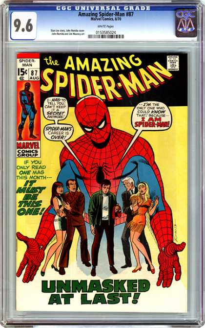 CGC Graded Comics - Amazing Spider-Man #87 (CGC) - Spider-man - Unmasked At Last - Marvel - Spider Suit - If You Only Read One Mag This Month It Must Be This One