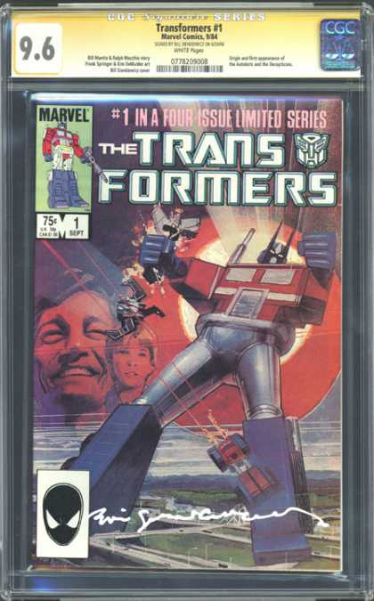 CGC Graded Comics - Transformers #1 (CGC) - Transformers - Optimus Prime - Marvel Comics - No 1 - Limited