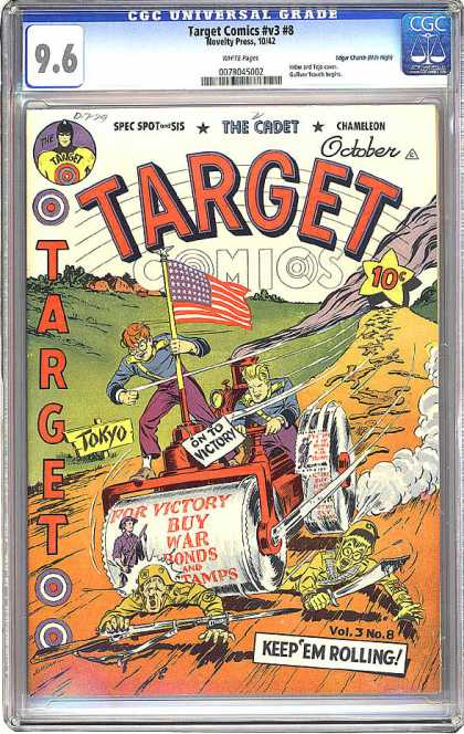 CGC Graded Comics - Target Comics #v3 #8 (CGC) - Steamroller - Flag - Tokyo - War Bonds - Victory