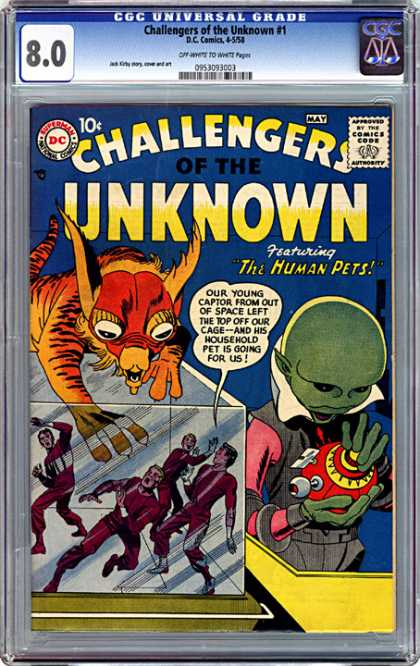 CGC Graded Comics - Challengers of the Unknown #1 (CGC) - The Human Pets - 80 - Green Alien - May - 1