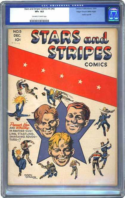 CGC Graded Comics - Stars and Stripes Comics #5 (#6) (CGC) - Stars And Stripes - Smashing Adventure - Whittey Tales - Sizzling Experience - Tale Of The Month