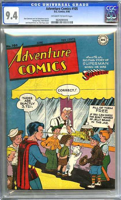 CGC Graded Comics - Adventure Comics #105 (CGC) - Superboy - Jelly Beans - Kids - Dog - Candy Store