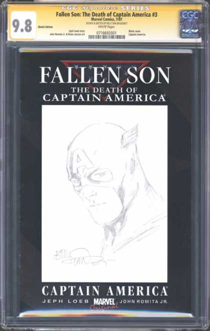 CGC Graded Comics - Fallen Son: The Death of Captain America #3 (CGC) - Captain America - Fallen Son - Sketches - Death - 98