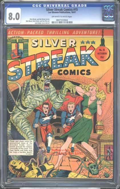 CGC Graded Comics - Silver Streak Comics #15 (CGC) - Daredevil - Mummy - Blonde Woman - Two Heroes - Egyptian Theme