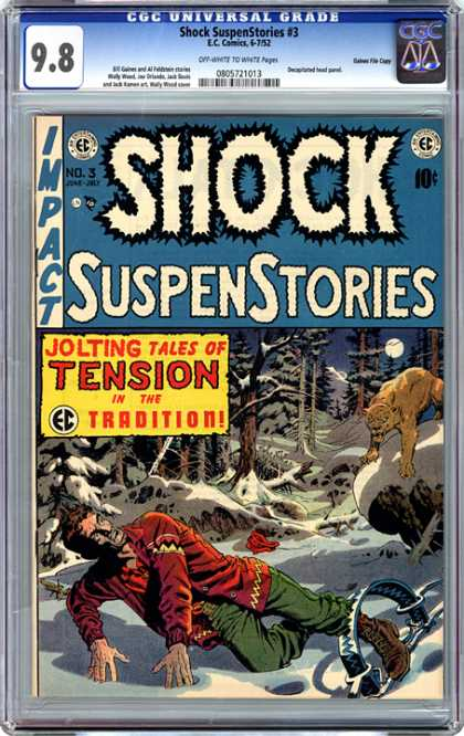 CGC Graded Comics - Shock SuspenStories #3 (CGC) - Cougar - Man Trap - Jolting Tales Of Tension - Snow - Forest
