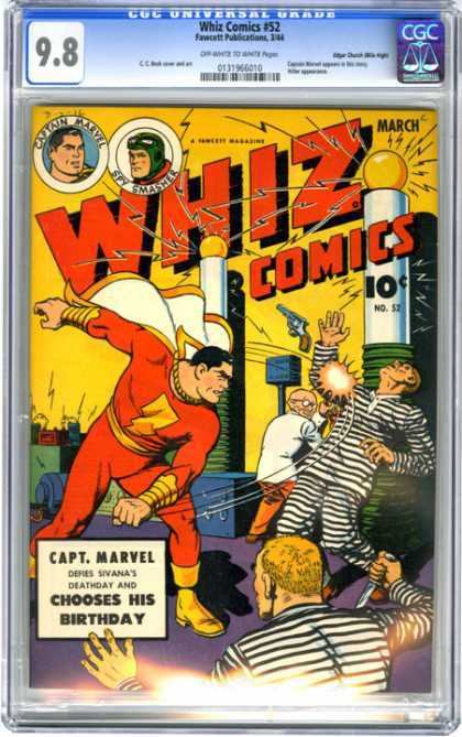 CGC Graded Comics - Whiz Comics #52 (CGC) - March - 10 Cents - Captain Marvel - Superhero - Weapon