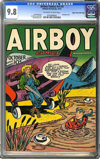 CGC Graded Comics - Airboy Comics #v4 #9 (CGC) - Farmer - Hat In Mud - Man In Mud - Plane - Shot Gun