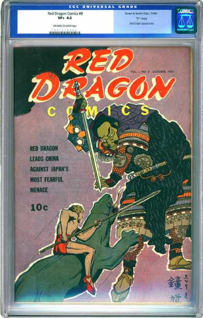 CGC Graded Comics - Red Dragon Comics #8 (CGC) - Dragon - Red - Sword - Animal - Man