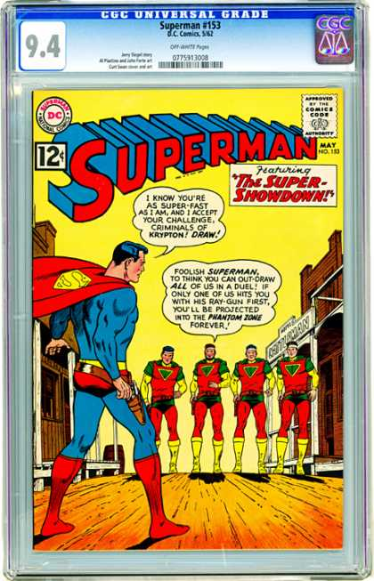 CGC Graded Comics - Superman #153 (CGC) - Superman - Approved By The Comics Code - Superhero - Superman National Comics - Phantom Zone