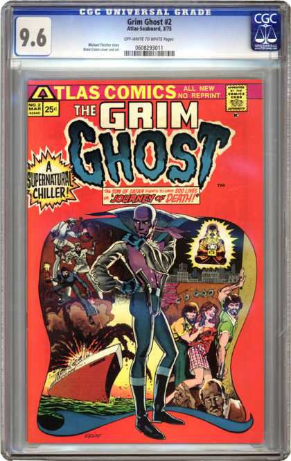 CGC Graded Comics - Grim Ghost #2 (CGC) - The Grim Ghost - Atlast Comics - A Supernatural Chiller - No Reprint - Journey Of Death