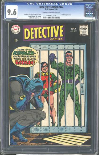 CGC Graded Comics - Detective Comics #377 (CGC) - Riddler - Robin - Batman - Batman In Jail - Villian Robin