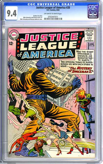 CGC Graded Comics - Justice League of America #20 (CGC) - Justice League - Wonder Woman - Giant Spaceman - Magic Lasso - Fighting