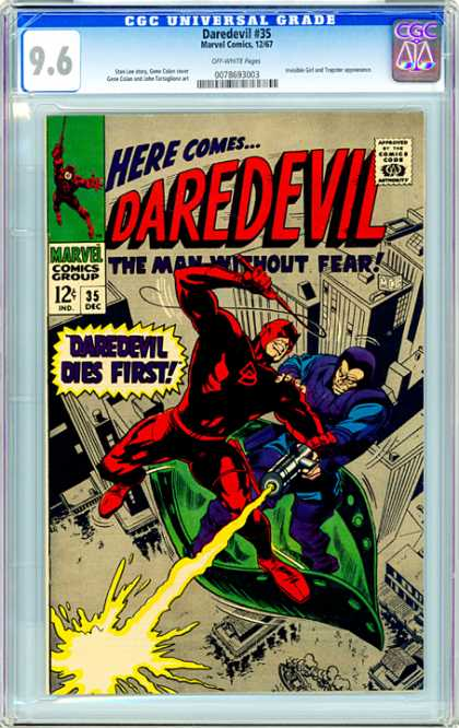 CGC Graded Comics - Daredevil #35 (CGC) - Daredevil Dies First - Lasso - Above City - The Man Without Fear - Boat