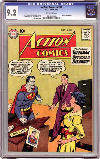 CGC Graded Comics - Action Comics #264 (CGC) - Superman - Bussiness Man - Lady - Table - Andry