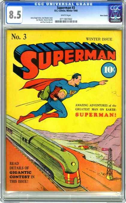 CGC Graded Comics - Superman #3 (CGC) - Greatest Man On Earth - Gigantic Contest - Train - Young Boy - Amazing Adventures